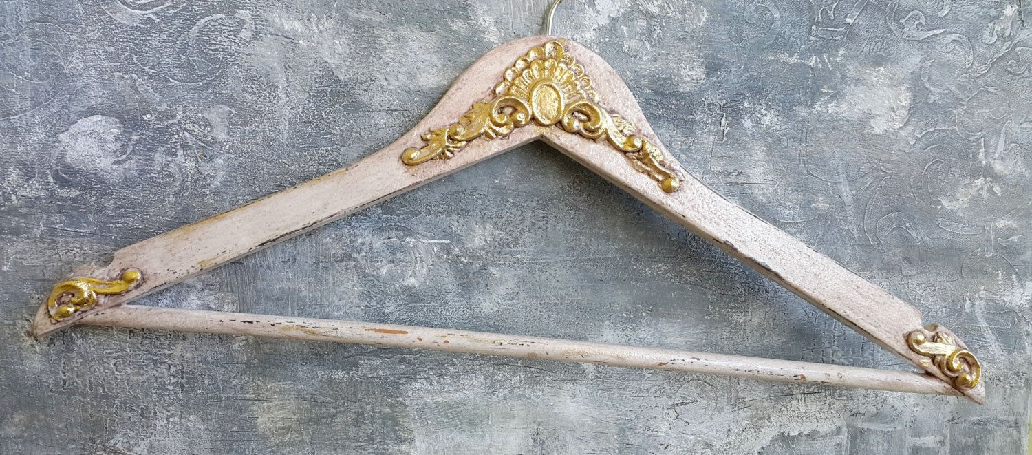 Blush and gold wedding gress hanger,Bridal gown hanger,Vintage ...