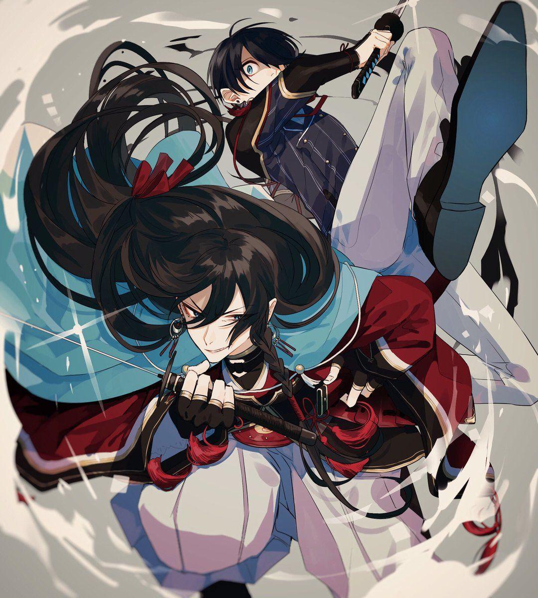 刀剣乱舞兼さんと堀川くんの躍動感ある戦闘イラストとある審神者