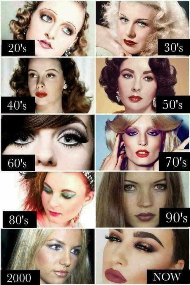 Make Up Through The Decades Makeup History Retro Makeup Vintage Makeup