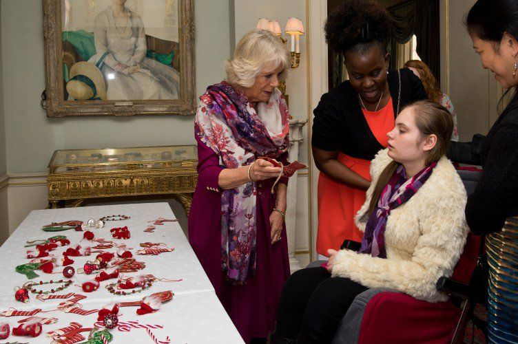 Camilla had some help from the children with decorating the tree.