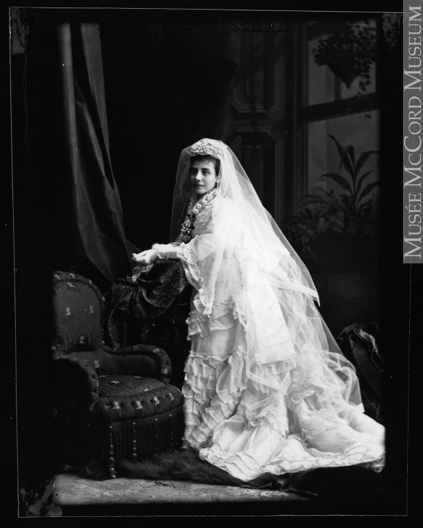 Mrs. J. B. Patterson in wedding dress, Montreal, QC, 1874 Silver ...