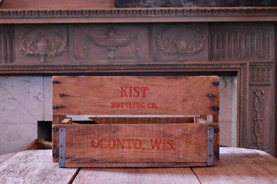 Vintage Kist Bottling CO Wood Crate, Vintage Wooden Crate, Oconto Wisconsin