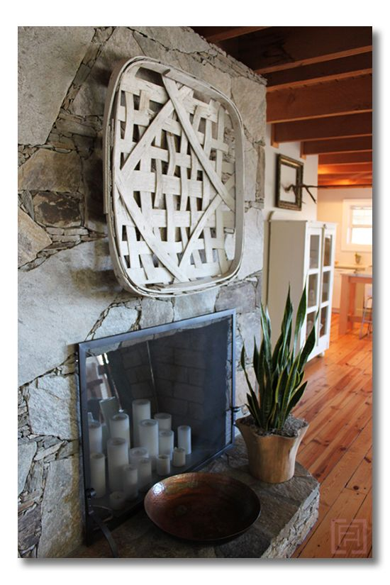 Hang a tobacco basket :: minimalist cottage living {design by @Angela of The Painted House}