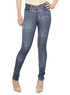 42f9ab5067e3b Exposed Front Zip Marble Wash Jeggings with Button Tab Trim