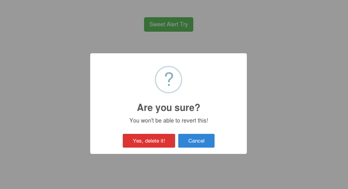 Example of Sweet alert example usign bootstrap. link:https://www ...