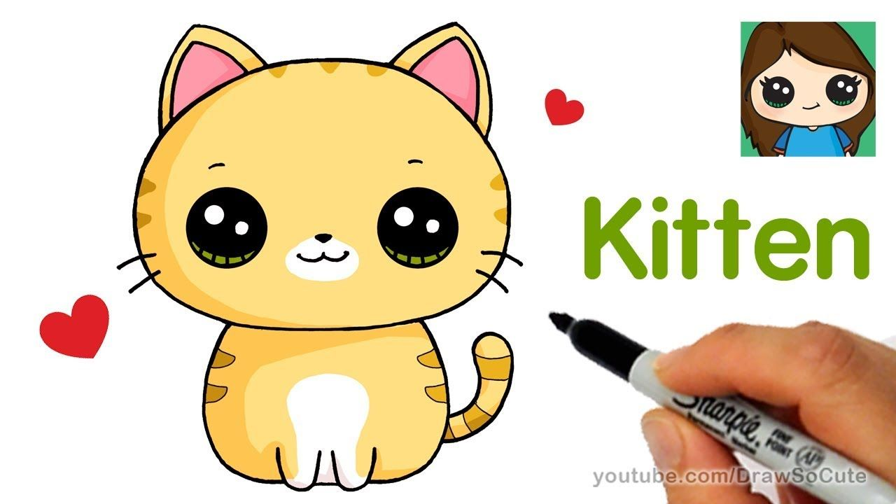 How To Draw A Kitten Super Easy Kitten Drawing Cat Drawing For