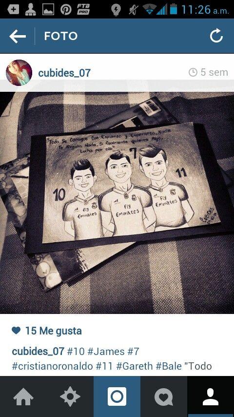 James 10 Cristiano Ronaldo 7  Gareth Bale 11 dibujo