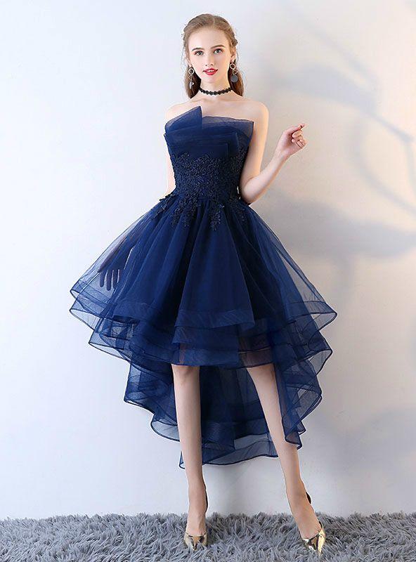08f2b44c88edd Applique Backless Junior School Dress High-Low Homecoming Dress in ...