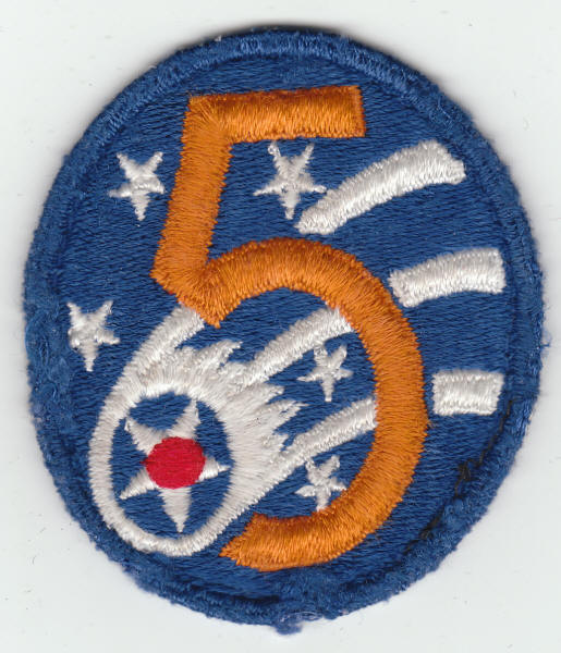 Fifth Air Force Insignia Patch Used and removed from a