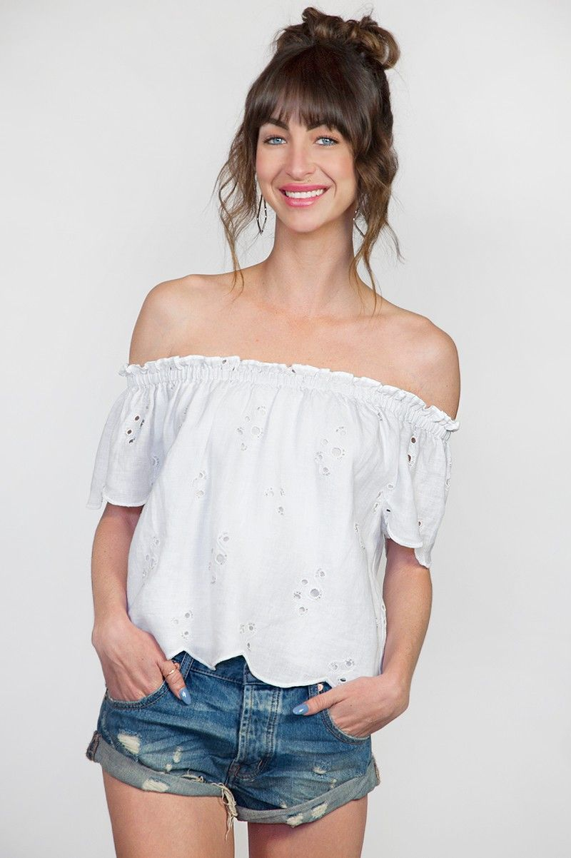Chan Luu Off Shoulder Eyelet Blouse in White
