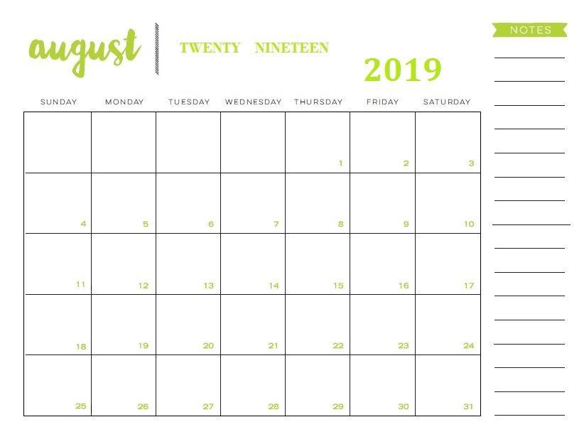 August 2019 Calendar Printable Template In Pdf Word Excel August