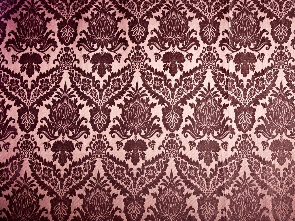 Brown Vintage Damask Fabric Texture Wallpaper