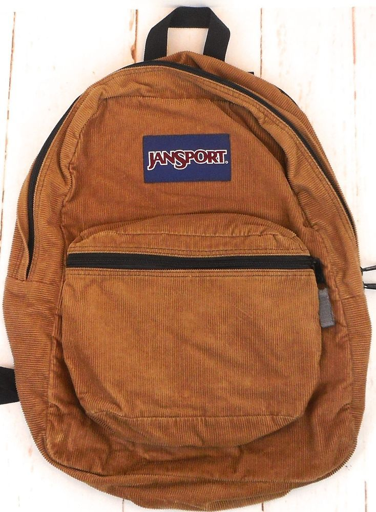 Jansport Brown Vintage 90s Corduroy Backpack Day Pack Book Bag Satchel  2c10ec292384e