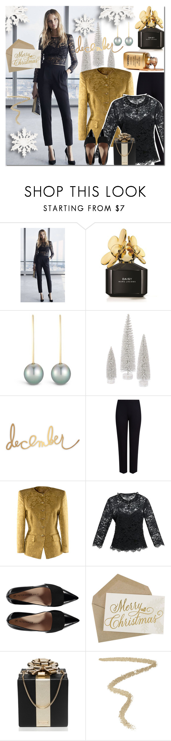 """Merry Christmas!"" by elena-starling ❤ liked on Polyvore featuring Marc Jacobs, M&S Collection, Rena Lange, Marc by Marc Jacobs, Kate Spade, By Terry, Christmas, gold, fallwinter2015 and Christmas2015"