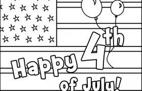 Happy 4th of July Poster Coloring Page | MyTeachingStation.com | 180x280