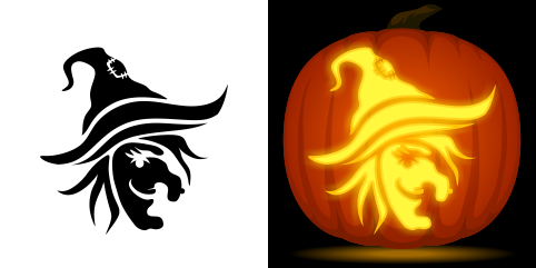 Witch face pumpkin carving stencil free pdf pattern to for Witch carving pattern for pumpkins
