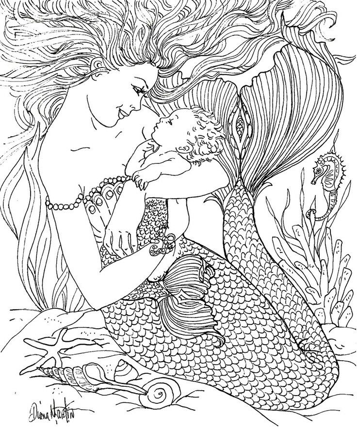 Mermaid And Child Mermaid Coloring Pages Mermaid Coloring Coloring Pages
