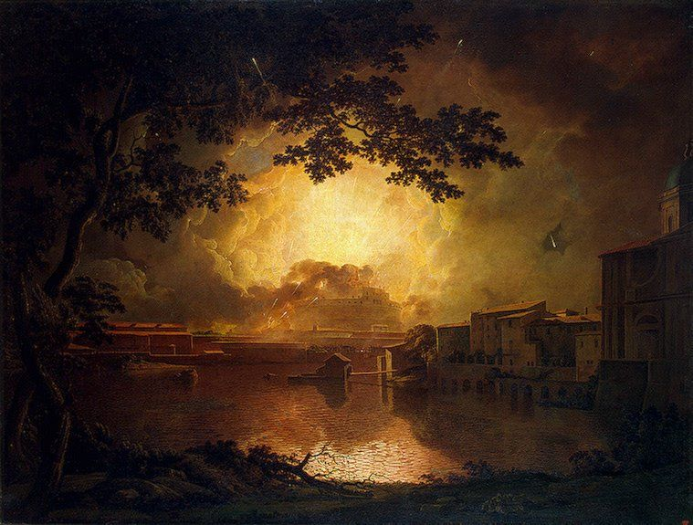 Joseph Wright of Derby, Firework Display at the Castel Sant'Angelo in Rome, 1779