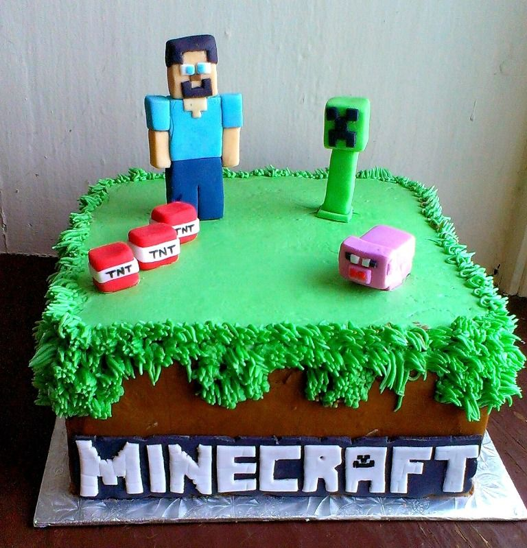 Image Of Best Minecraft Birthday Cake Kiddos