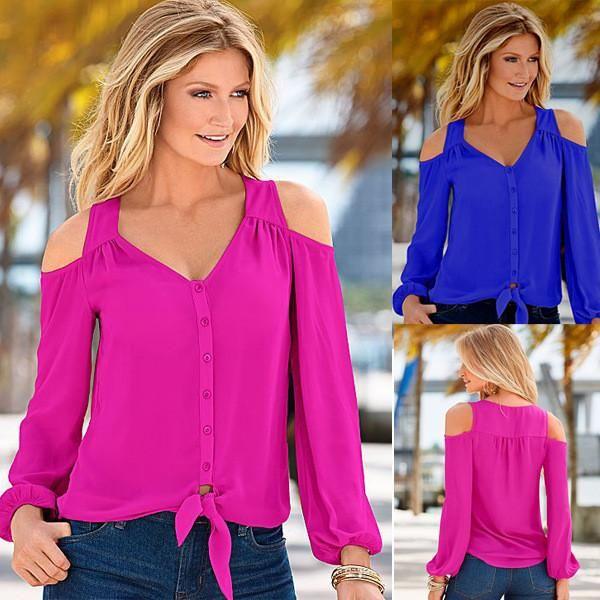 d5f4aa1075eec9 Womens stylish chiffon long sleeve top - Beautiful off shoulder tops for  modern women -