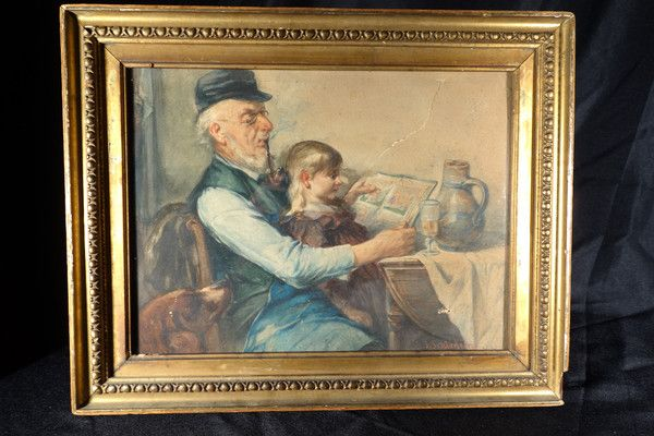 A very well done watercolor featuring an older man smoking a pipe and reading a book with his granddaughter on his lap. Exceptionally well painted and a testament to the skill of the artist. Signed Julius Schledorn.