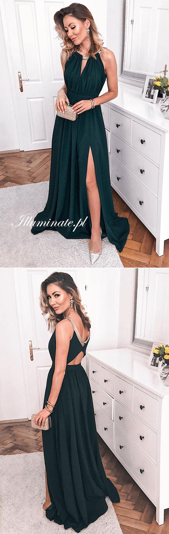 Dluga Zielona Sukienka Rzymianka Dla Druhny Na Wesele Elisa Prom Night Dress Dark Green Prom Dresses Green Prom Dress