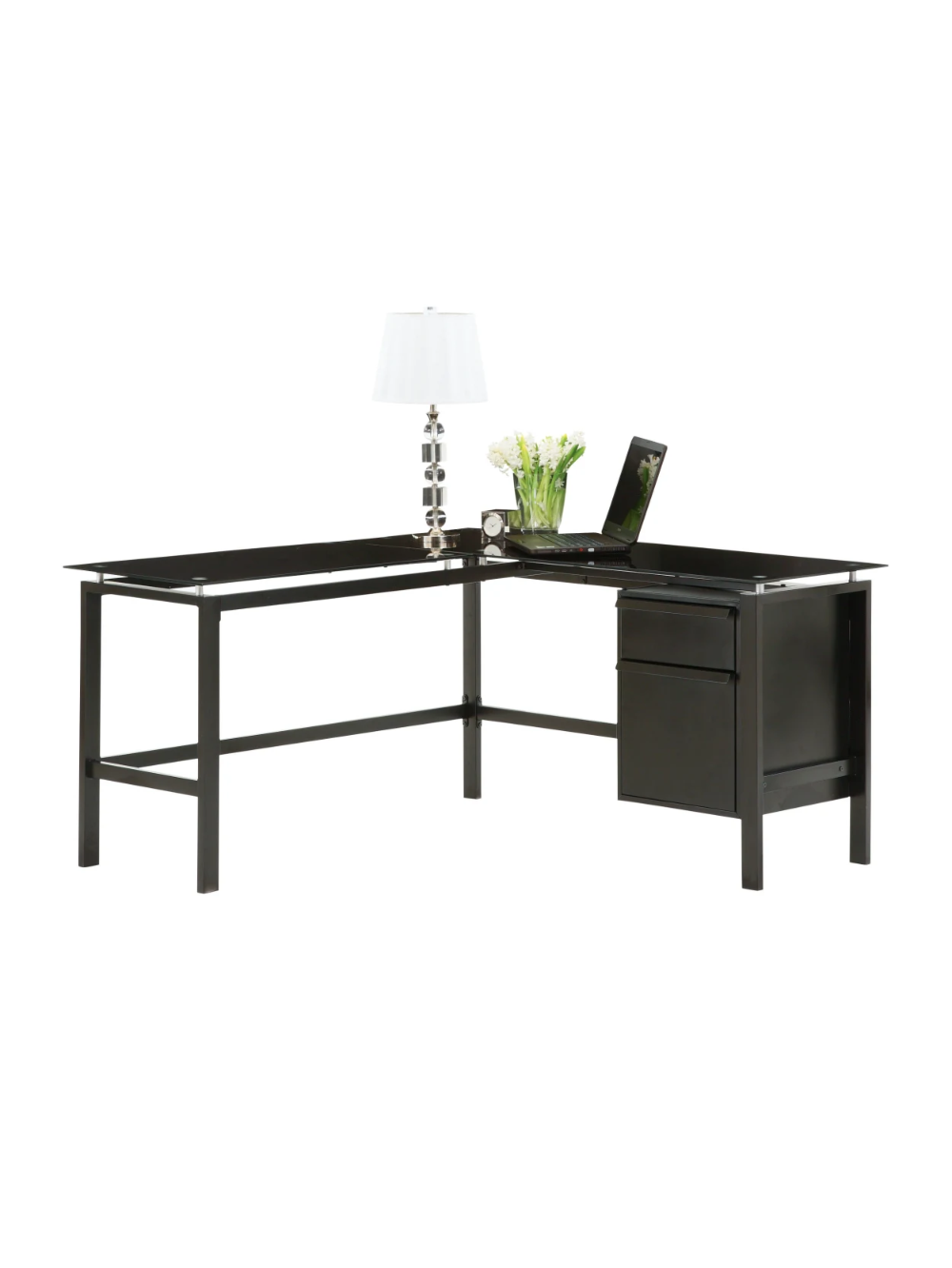 Realspace Lake Point L Shaped Desk Black Office Depot in
