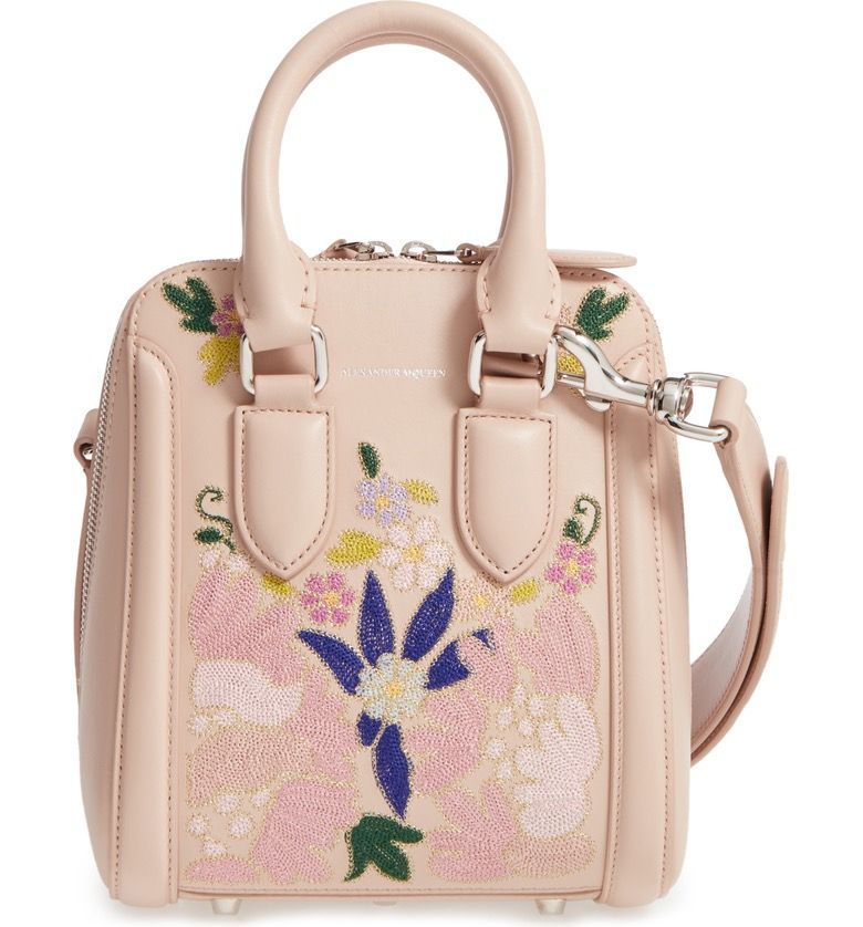Alexander McQueen Small Heroine Flower Embroidered Leather Satchel
