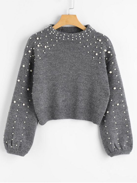 5c4e98127514 Faux Pearl Mock Neck Sweater Gray S Kazak t