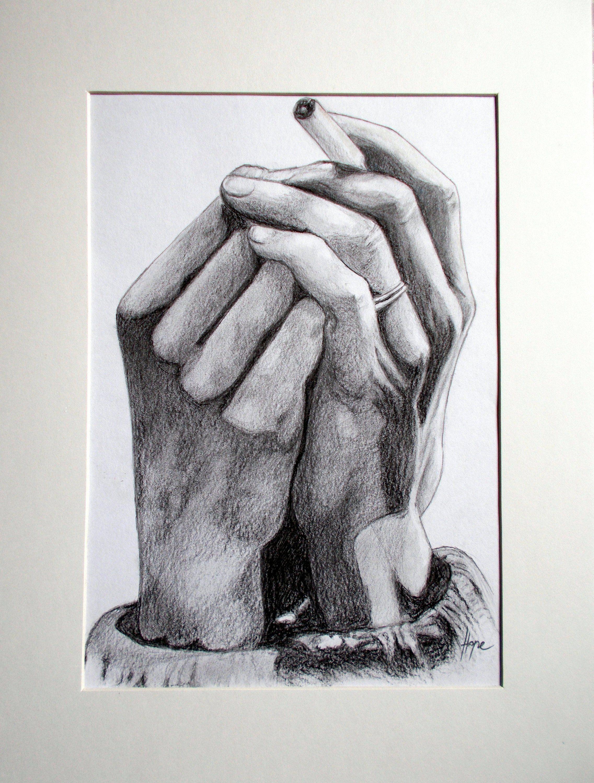 Manual drawing pencil art original ruke pušačice crtež olovkom 25x35cm autor nada matić zagreb hrvatska