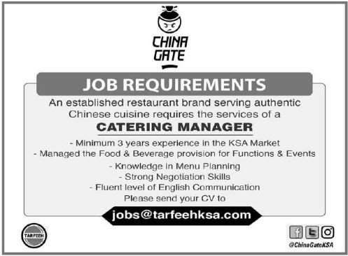 22082017 JOB IN KSA CATERING MANAGER VISA NOT THERE Connecting - catering manager