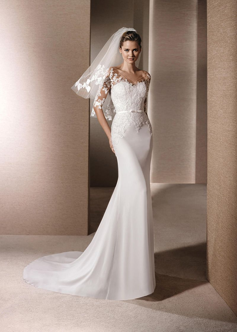 Beformal.com.au SUPPLIES Exquisite Mermaid Short Sleeves Floor,Length Lace  Fabric Wedding Dress Hot Selling Wedding Dresses