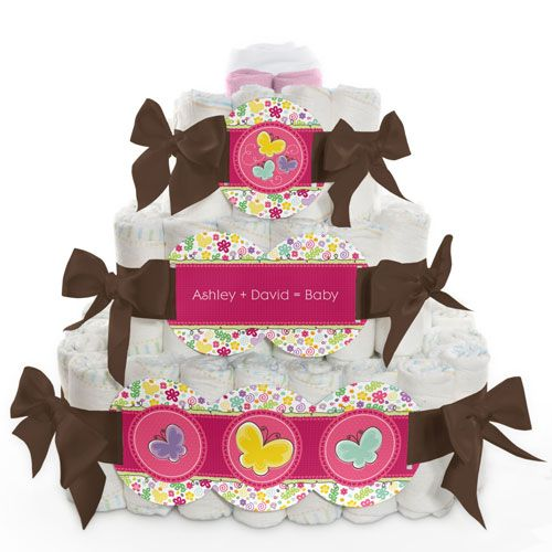 Playful Butterfly and Flowers - 3 Tier Personalized Square - Baby Shower Diaper Cake $89.99