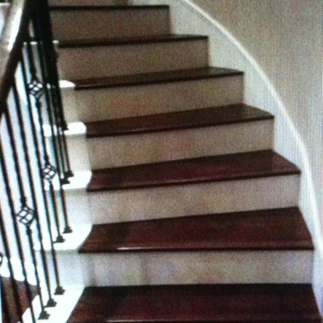 Awesome Engineered Hardwood On The Stairs With Painted Bottom Part.