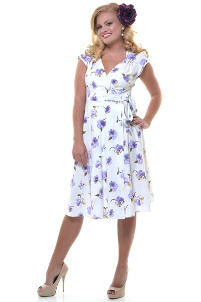 1940s style stop staring lilac pansy wrap dress unique