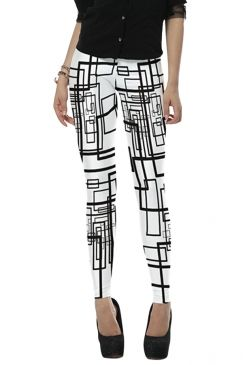 #Womens #Stylish High Elastic #Geometric #Digital #Print #Leggings White