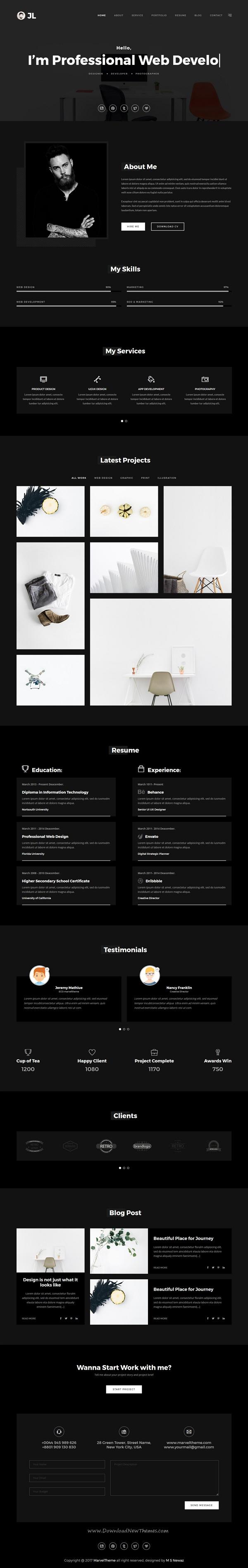 Johny Minimal Personal Portfolio Template  Personal Portfolio