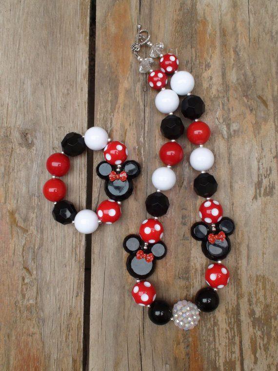 b67532195ceb Disney Classic Polka Dot bow Minnie MouseChunky Bead Necklace and Bracelet  Set   by AlternativeScraps