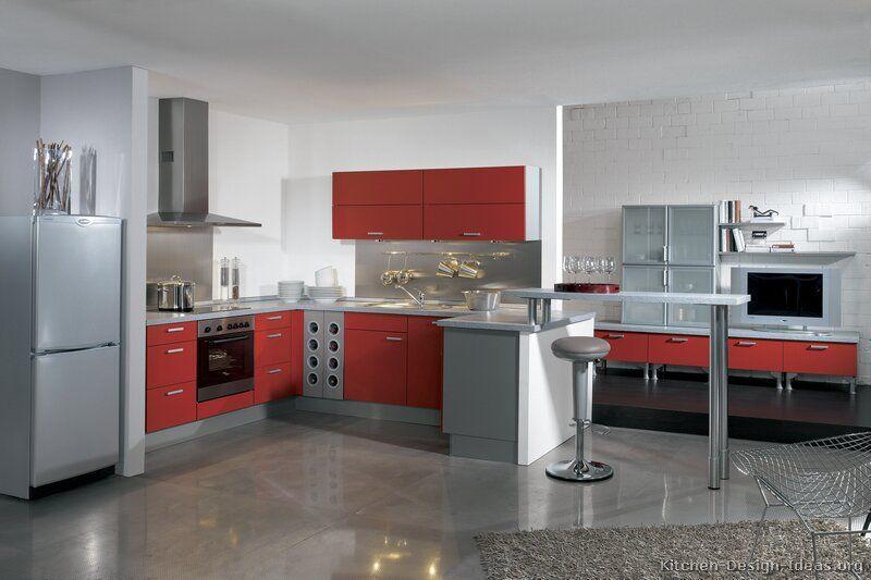 Kitchen Idea Of The Day Modern Red Kitchens By Alno Ag Red Kitchen Cabinets Modern Red Kitchen Modern Kitchen