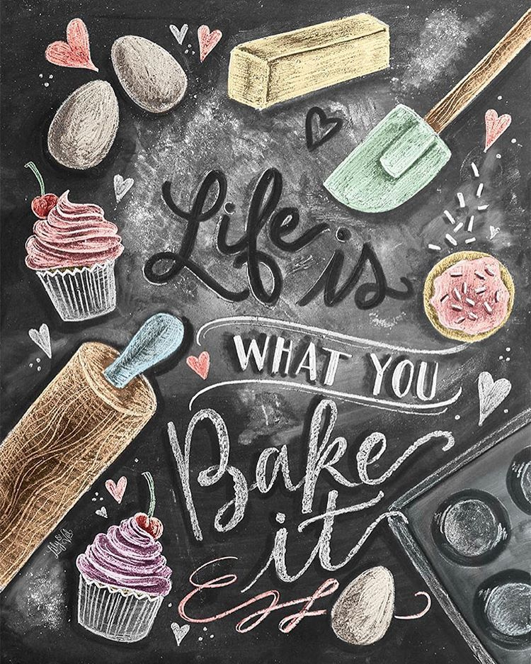 Here Is The Finished Design For My Baking Lovers It S Up In The Lilyandval Shop Along With Another New Kitchen Print Link In Prof 黒板アート 黒板チョークアート チョークアート