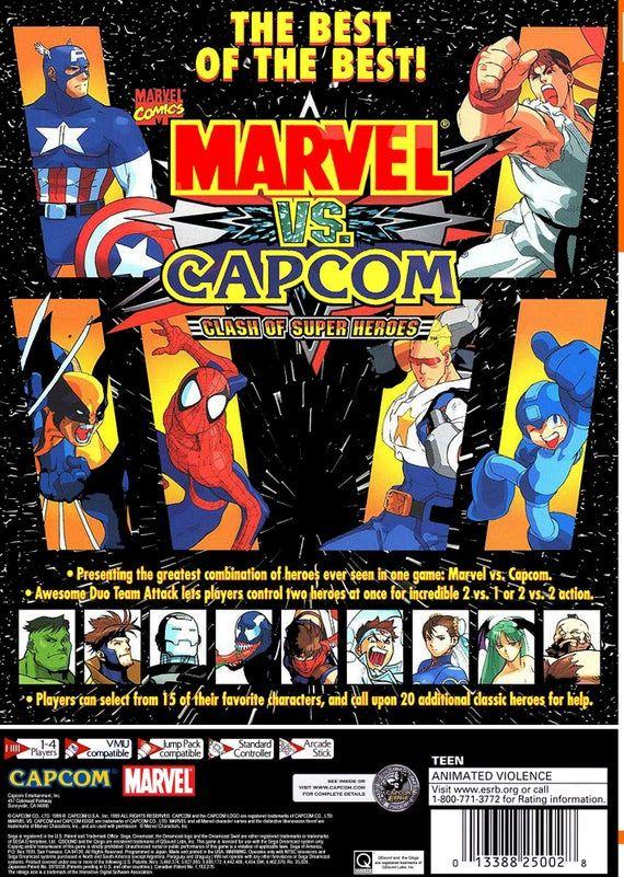 Marvel Vs Capcom Reproduction Custom Sega Dreamcast Game In A Dvd