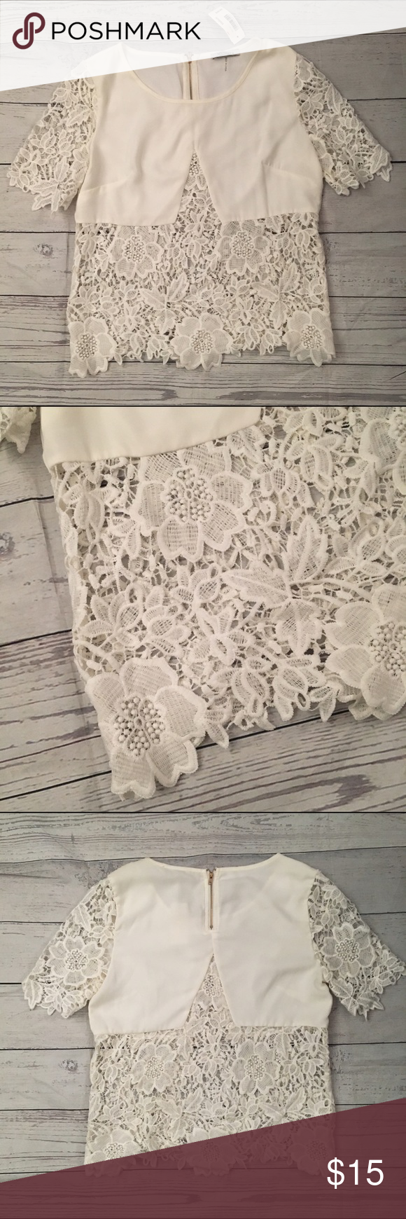 White lace top This top is so cute and sexy! Looks beautiful with a high waisted skirt or skinny jeans. Sheer lace from and back. NWT. xTaren Tops Blouses
