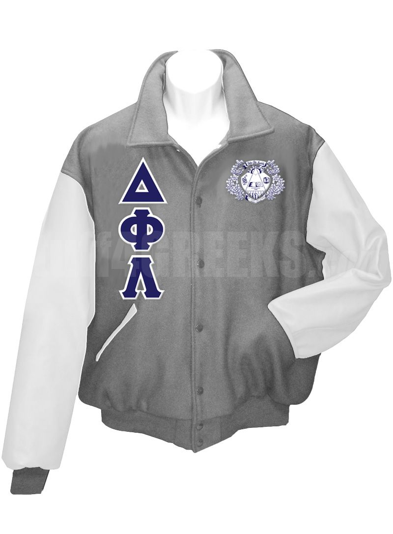 16d2c723e9 Gray Delta Phi Lambda Letterman Varsity Jacket with white sleeves ...