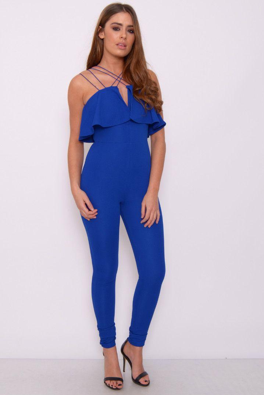 a42a610092a Blue Textured Frill Top Jumpsuit