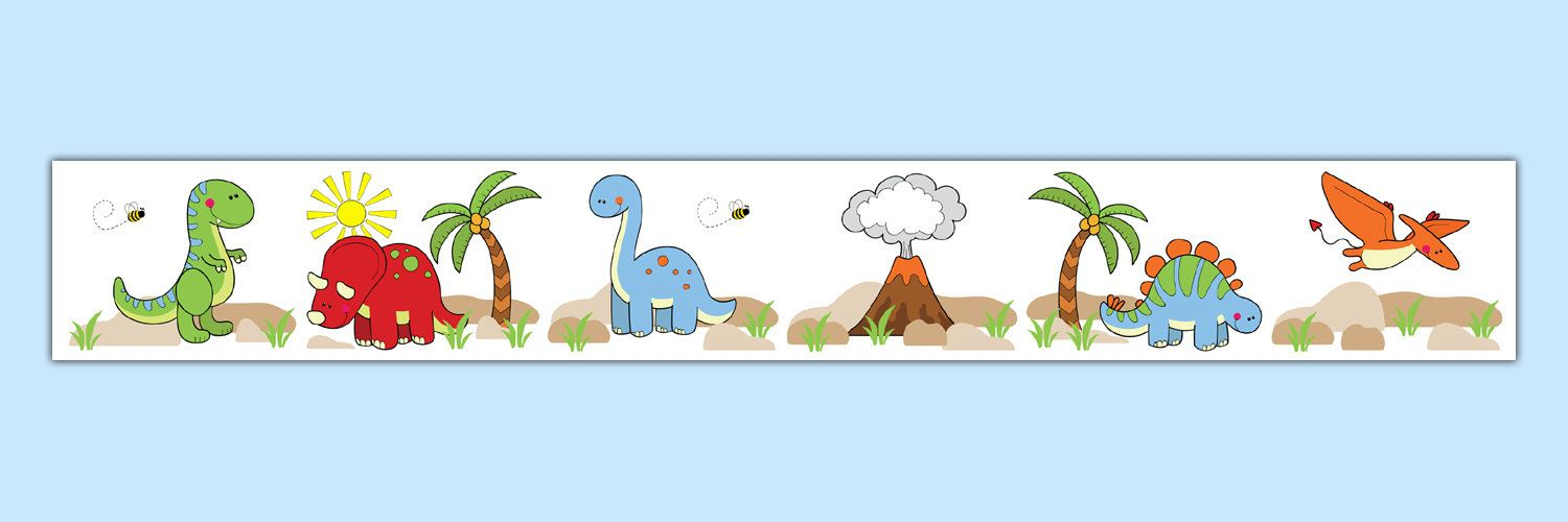 DINOSAUR WALLPAPER BORDER Wall Decals Baby Boy by decampstudios