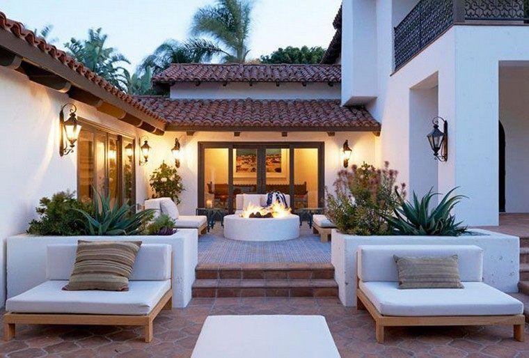 foyer extérieur idée terrasse bois et pierre mobilier bois ...