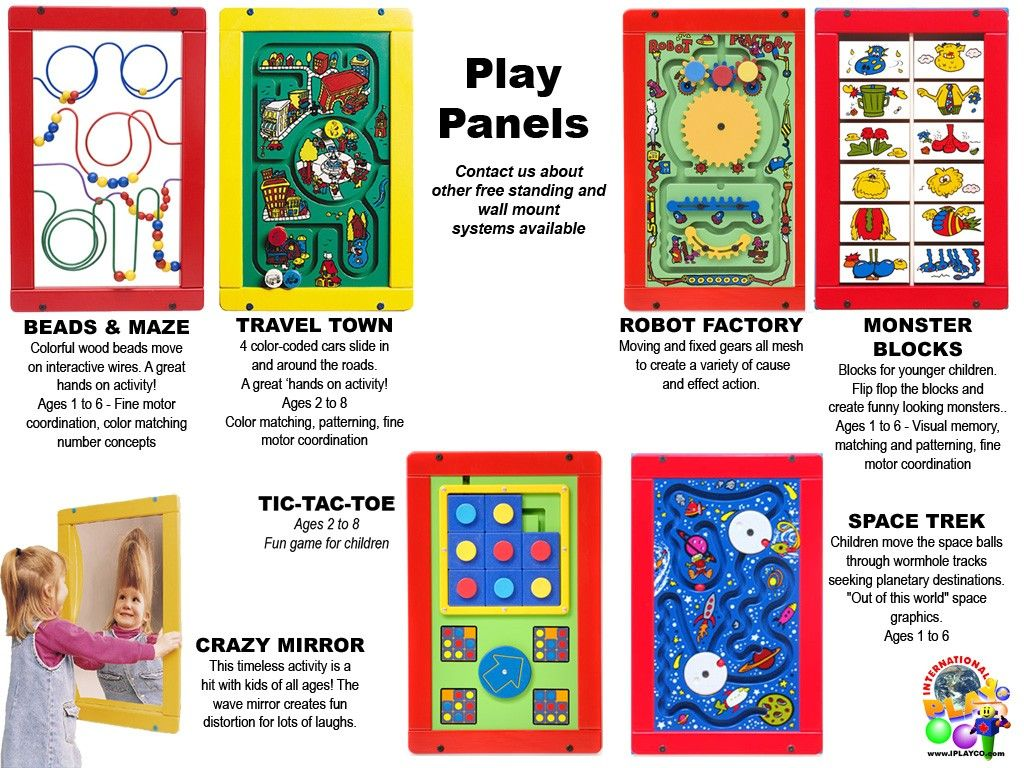 PLAY-PANELS - contact International Play Company - add toddler play panels to your family entertainment center, children play areas, terminal airports, doctor offices.... anywhere that children play.  www.iplayco.com