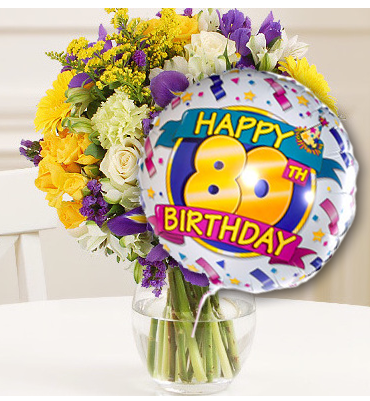 80th Birthday Flowers And Balloon Available For UK Wide Delivery From Order Flowerscouk