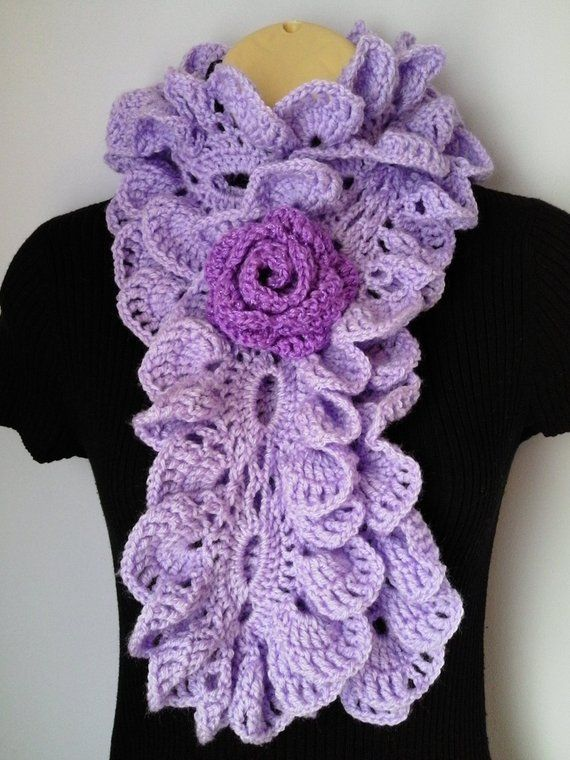 b44a7b835aa Crochet Scarf Neckwarmer, Flower Brooch, Ruffle, accessories lilac ...