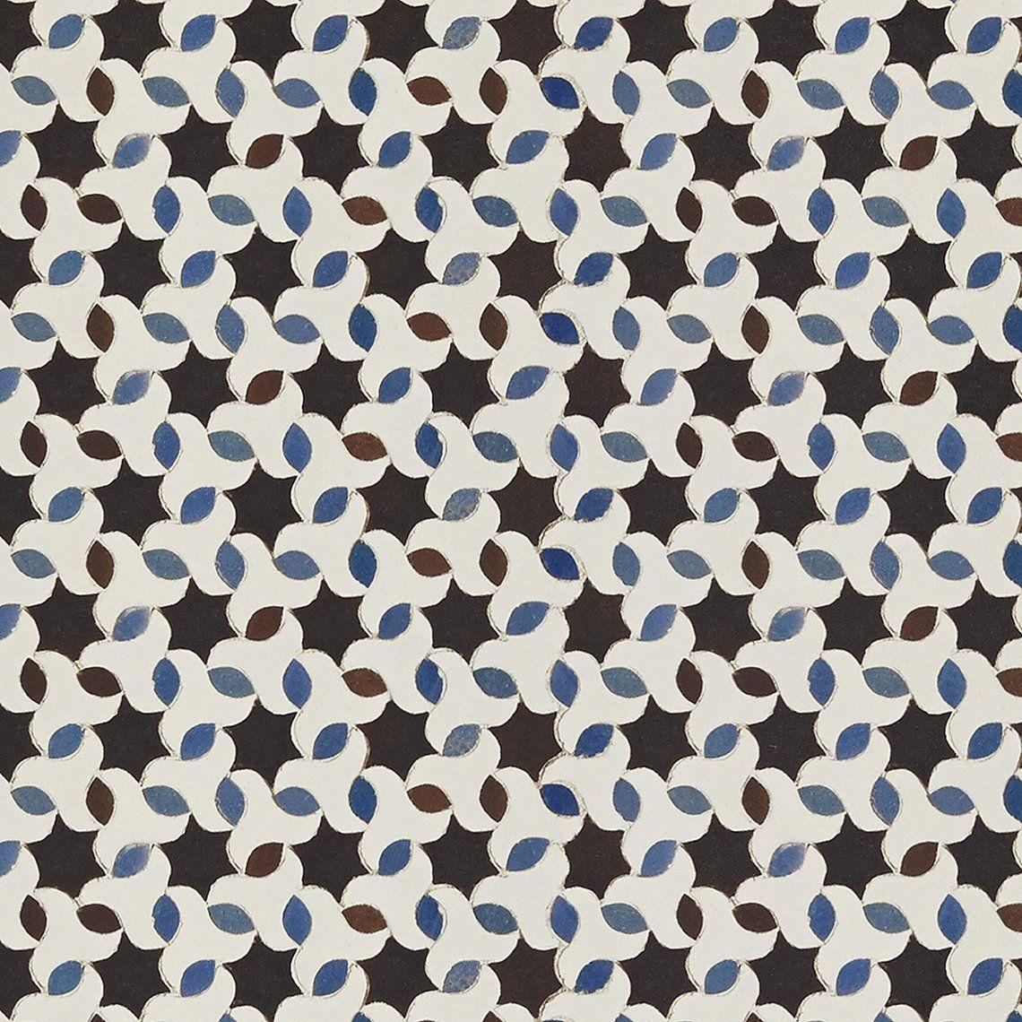 Papier peint TARIFA Intissé imitation carreaux de ciment, Bleu ...